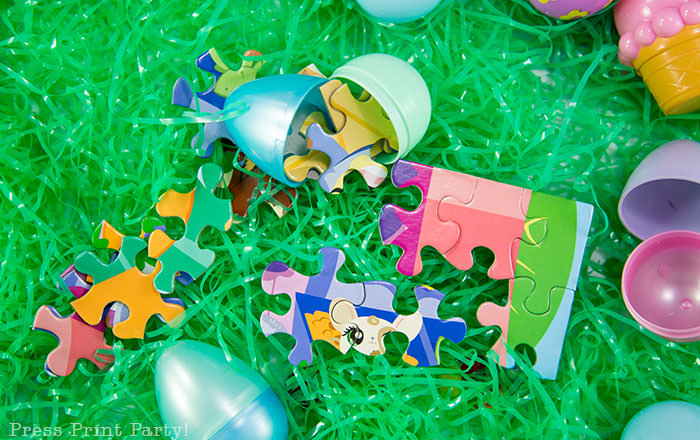puzzle pieces in plastic eggs Press Print Party Easter egg hunt ideas and activities - non candy Easter egg filler ideas that's not junk Press Print Party!