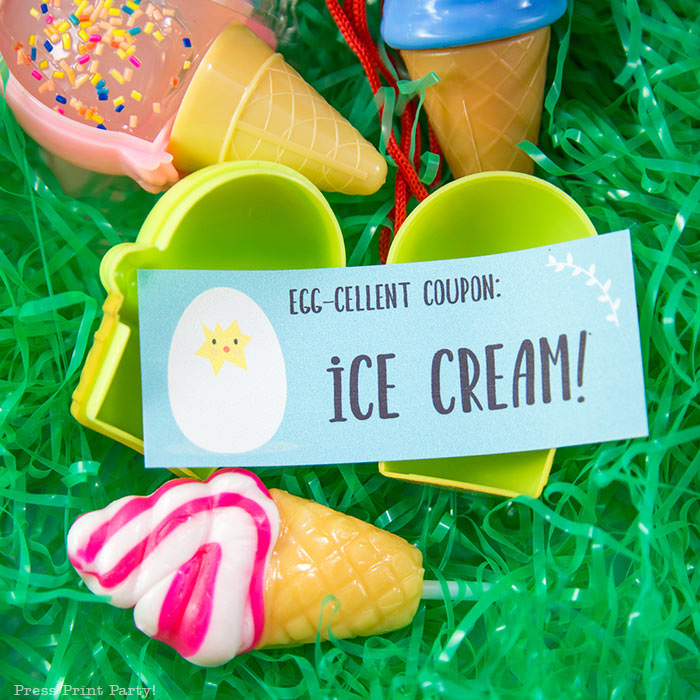 Easter egg hunt free printable coupon editable with your own text - Easter hunt ideas - Press Print Party! - ice cream egg