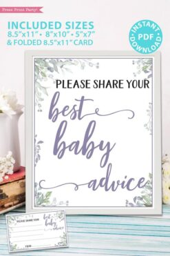 Please Share Your Best Baby Advice - Baby shower sign printable template pdf, baby shower party ideas, instant download Press Print Party! Greenery and purple design with cards.