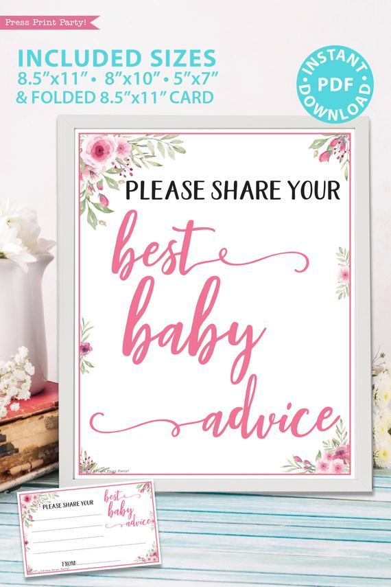 Best baby advice sign and card printable baby shower game pink flowers Press Print Party!