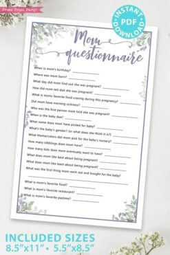 Mom Questionnaire - Baby shower game printable template pdf, baby shower party ideas, instant download Press Print Party! Greenery and purple design
