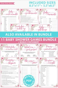 Pink flowers 11 baby shower games bundle oh baby baby shower games