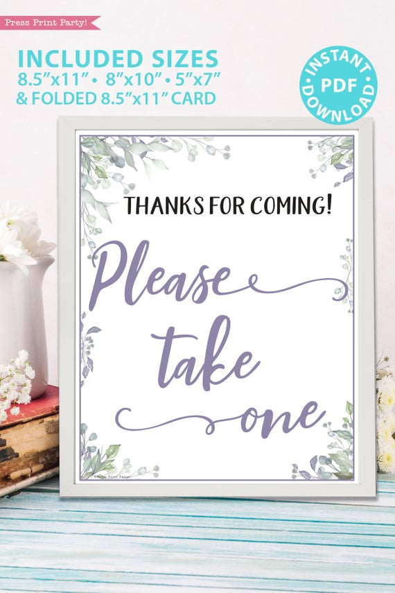 Please Take One - Baby shower sign printable template pdf, baby shower party ideas, instant download Press Print Party! Greenery and purple design