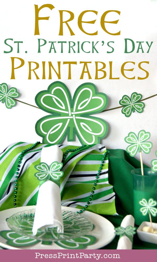 Free St Patrick's Day Shamrock Printables by Press Print Party!