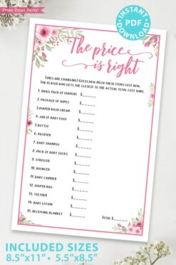 the price is right game printable baby shower game pink flowers Press Print Party!