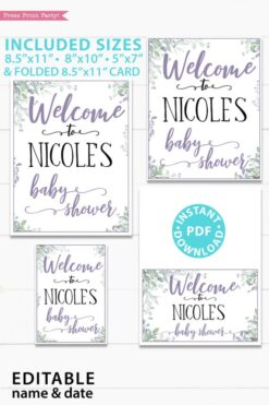 Welcome to baby shower sign - Baby shower sign printable template pdf, baby shower party ideas, instant download Press Print Party! Greenery and purple design