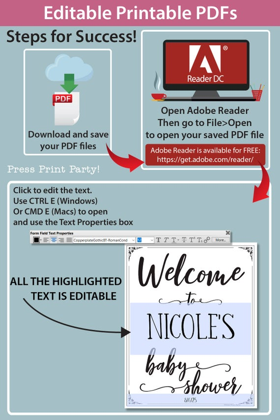 welcome to the baby shower editable with name Printable baby shower game Peach flowers, instant download pdf Press Print Party!