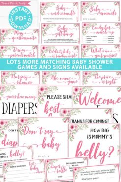 Lots more matching baby shower games and signs available pink flowers Press Print Party!