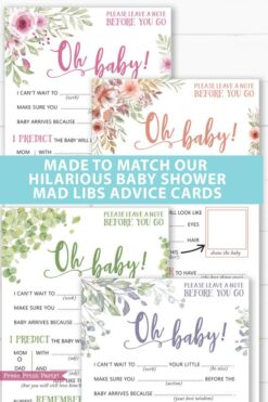 Made to match our hilarious baby shower mad libs advice cards