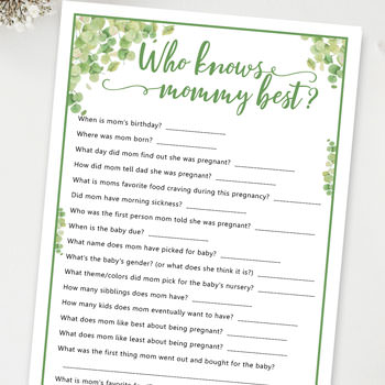 who knows mommy best baby shower game press print party