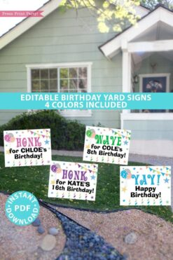 Birthday Yard Sign Printable, Honk Sign for Boy or Girl Birthday Party, Front Yard, Quarantine Birthday, INSTANT DOWNLOAD