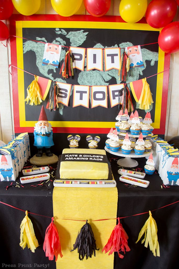 The amazing race party ideas - Press Print Party!The amazing race party ideas dessert and cake table - Press Print Party!