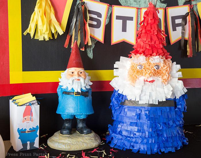The amazing race party ideas - Roaming gnome pinata DIY - Press Print Party!