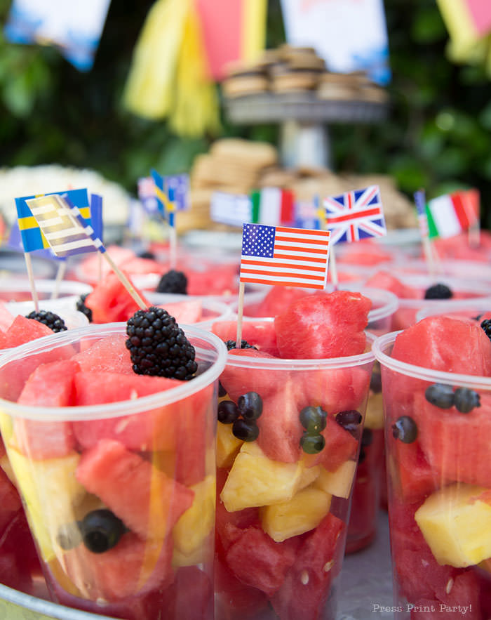 Fruit cups - The amazing race party ideas - Press Print Party!
