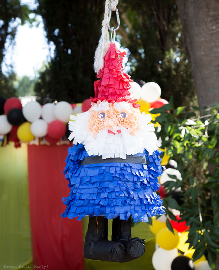 the amazing race travelocity roaming gnome pinata homemade Press Print Party! Amazing race party ideas.
