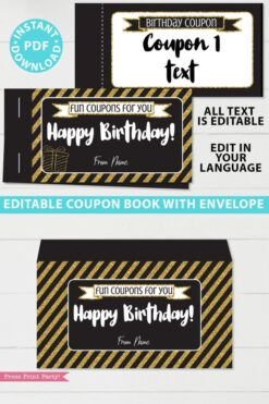 Gold editable birthday coupon book template printable last minute gift ideas download - Press Print Party!