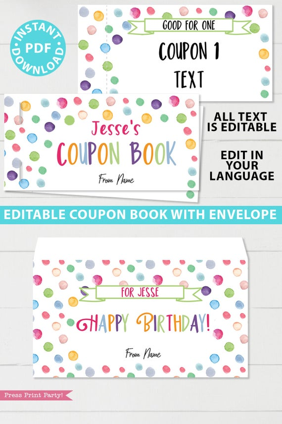 Birthday Coupons Book Printable Confetti Press Print Party