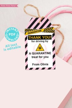 drive by birthday thank you tags editable for quarantine birthday party pink instant download