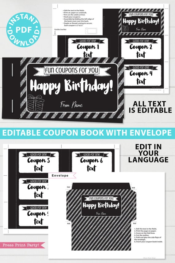 Silver editable birthday coupon book template printable last minute gift ideas download - Press Print Party!