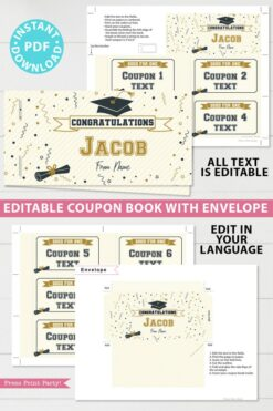 editable graduation coupon book template printable last minute gift ideas for the new grad download - Press Print Party!
