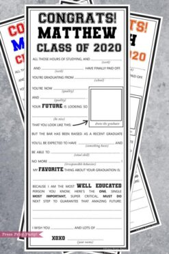 graduation mad libs advice cards party idea - Press Print Party!