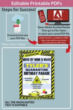 quarantine birthday invitation lime green and black - Press Print Party!