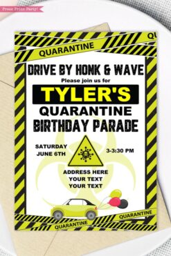 quarantine birthday invitation lime green and black - Press Print Party!