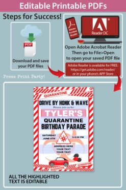 quarantine birthday invitation lime red and white - Press Print Party!