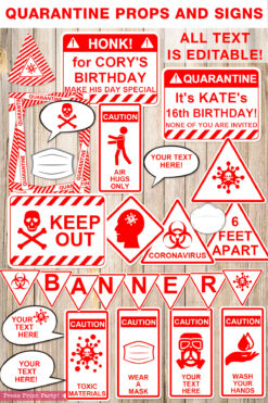 Red and white Quarantine Birthday Photo Booth Props and Signs, Editable Birthday Yard Sign, Drive-by birthday, For Car or Photos, Party Decor, INSTANT DOWNLOAD