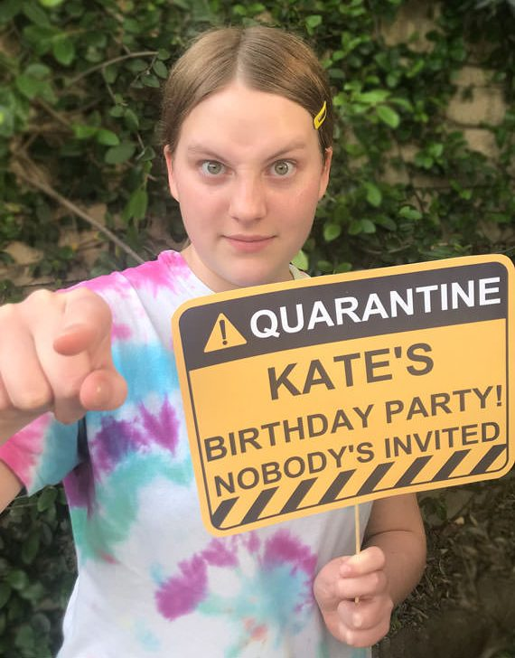 Girl holding Quarantine Birthday sign. Quarantine birthday Photo Booth Props and Signs, Editable Birthday Yard Sign, Drive-by birthday, For Car or Photos, Party Decor, INSTANT DOWNLOAD
