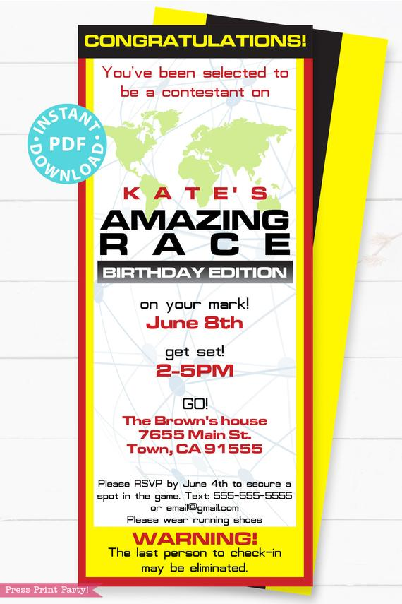 The amazing race party printables decorations, clue cards, invitation, banner, cupcake wraps, chocolate wraps, party hat route marker Press Print Party!