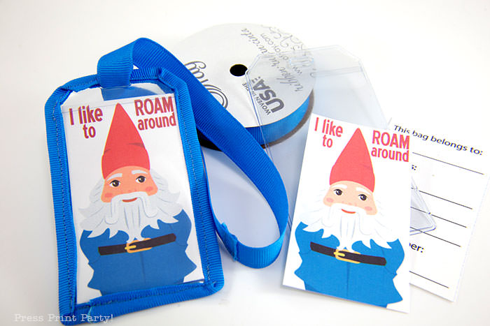 Roaming gnome luggage tag with blue ribbon and free printable template with back for name and address - Press Print Party!