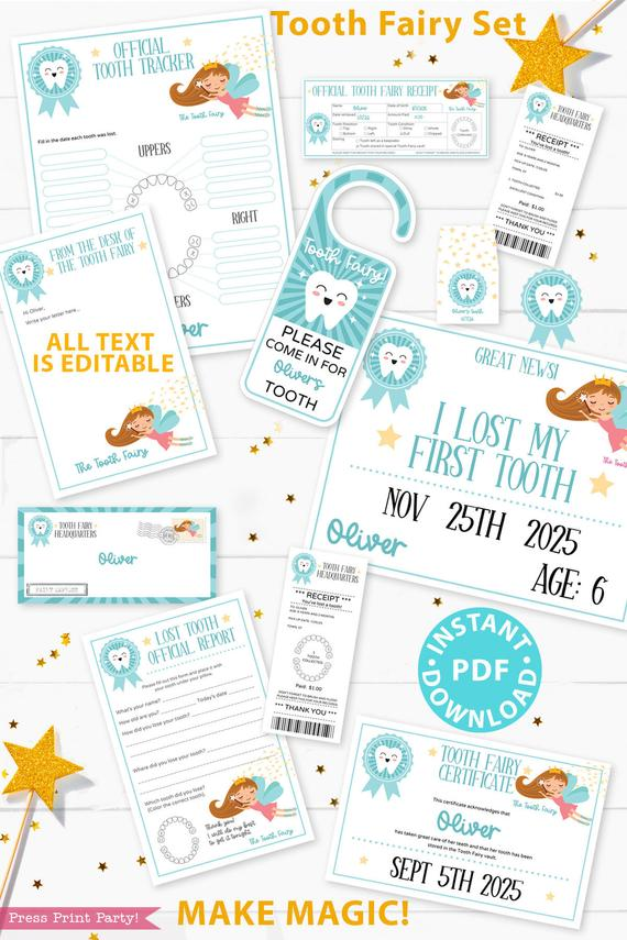 Create a magical tradition. Tooth Fairy printable set blue for boys or girls with tooth fairy letter, receipt, door handle, first tooth certificate, tooth envelope, cash envelope, baby teeth chart, editable by Press Print Party!