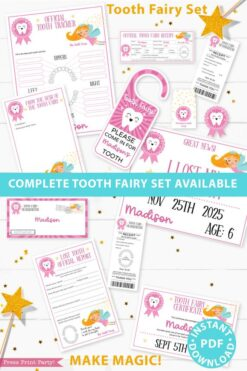 Create a magical tradition. Tooth Fairy printable set pink with tooth fairy letter, receipt, door handle, first tooth certificate, tooth envelope, cash envelope, baby teeth chart, editable by Press Print Party!