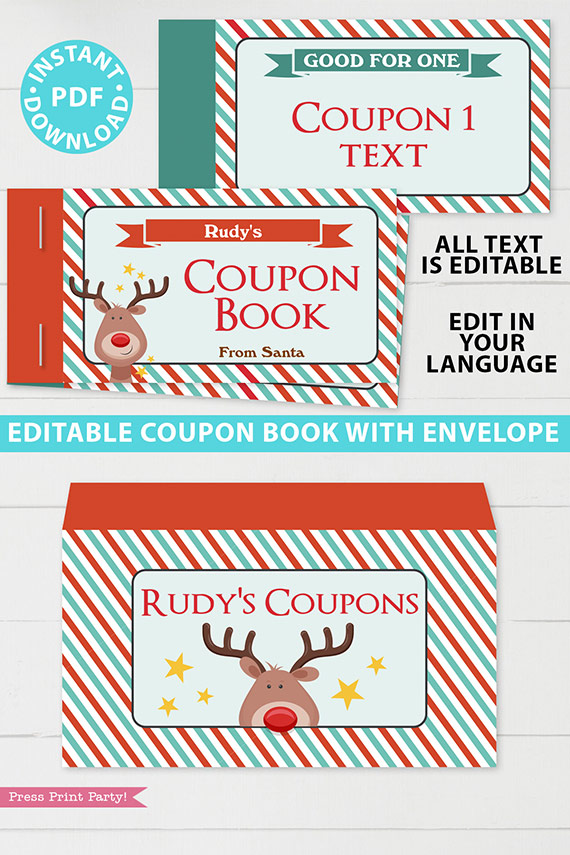 Christmas Coupon Book Printable Template, Kids Gift Idea, Editable Blank Coupons, DIY Last Minute Gift Stocking Stuffer, INSTANT DOWNLOAD rudolf