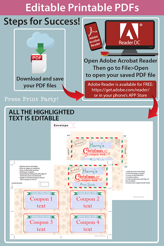 Christmas Coupon Book Printable Template, Gift Idea, Editable Blank Coupons, Last Minute Gift Stocking Stuffer, Vintage, INSTANT DOWNLOAD