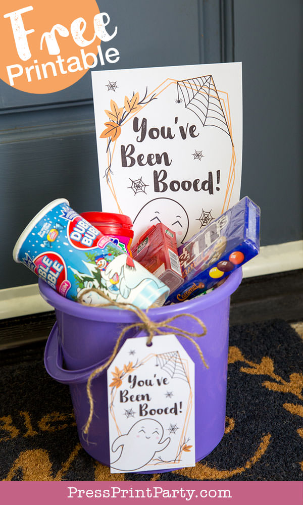 You've been booed, We've been booed, and you've been booed instruction sheet. Free printable you've been booed basket of treats. by Press Print Party