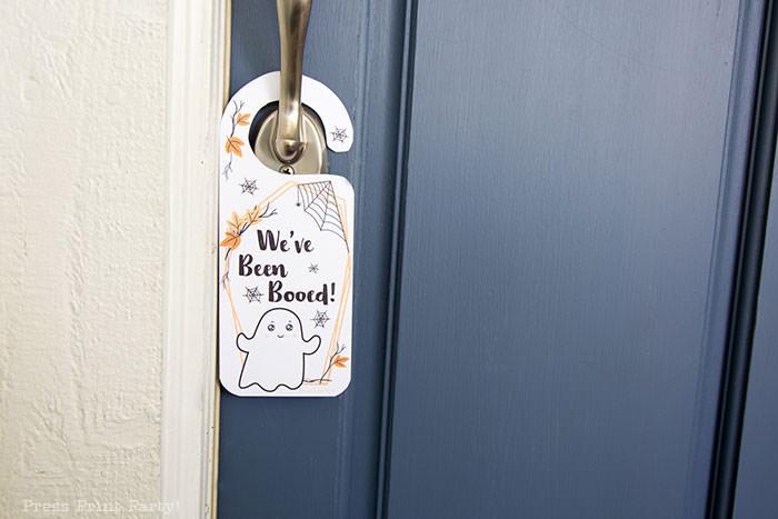 We've been booed door hanger on blue door Press Print Party!