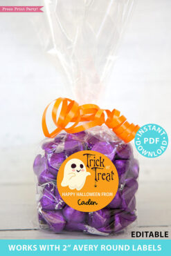 "Halloween Labels Printable Avery 2"" Round Labels Customizable with Editable text, Halloween treat sticker, Ghost Design, INSTANT DOWNLOAD"