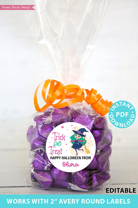 """Halloween Labels Printable Avery 2"""" Round Labels Customizable with Editable text, Halloween treat sticker, Green Witch, INSTANT DOWNLOAD"""