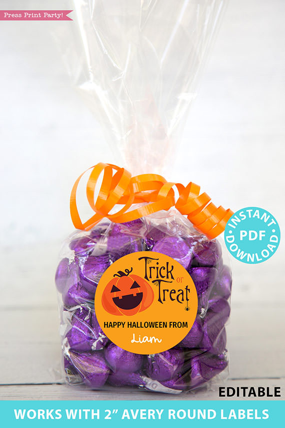 """Halloween Labels Printable Avery 2"""" Round Labels Customizable with Editable text, Halloween treat sticker, Pumpkin, INSTANT DOWNLOAD"""