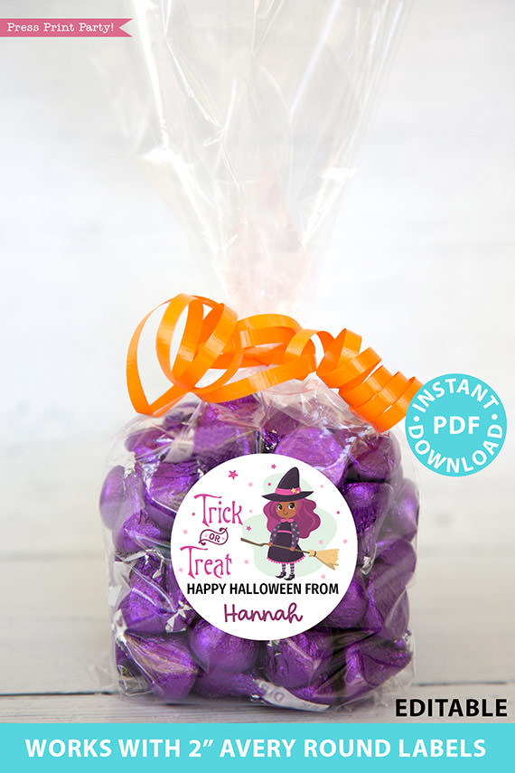 """Halloween Labels Printable Avery 2"""" Round Labels Customizable with Editable text, Halloween treat sticker, Purple black Witch, INSTANT DOWNLOAD"""
