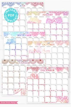 July, August, September, October, November, December,MONDAY Start 2021 Calendar Printable Set, Mandala Watercolor, Bullet Journal Printable, Monthly Calendar Daily Routine, INSTANT DOWNLOAD