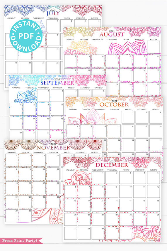 July, August, September, October, November, December,MONDAY Start 2021 Calendar Printable Set, Mandala Watercolor, Bullet Journal Printable, Monthly Calendar Daily Routine, INSTANT DOWNLOAD