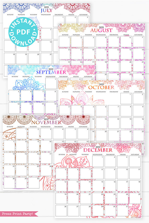 July, August, September, October, November, December, 2021 Monthly Printable Calendar Template, Watercolor Mandala, Bullet Journal Calendar Download, Monthly Planner, Sunday, INSTANT DOWNLOAD