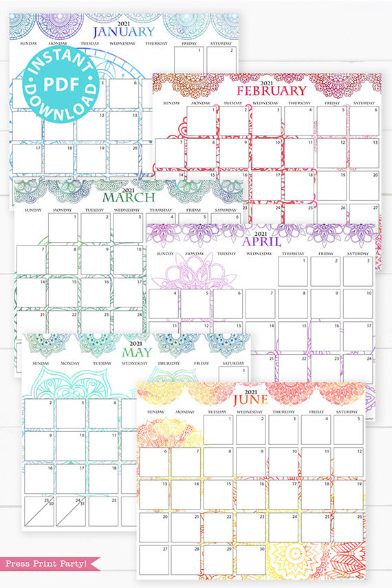 January, February, March, April, May, June, 2021 Monthly Printable Calendar Template, Watercolor Mandala, Bullet Journal Calendar Download, Monthly Planner, Sunday, INSTANT DOWNLOAD