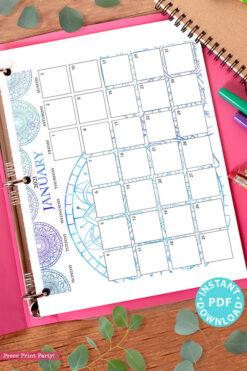MONDAY Start 2021 Calendar Printable Set, Mandala Watercolor, Bullet Journal Printable, Monthly Calendar Daily Routine, INSTANT DOWNLOAD