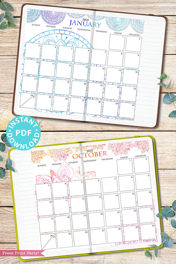 2021 Monthly Printable Calendar Template, Watercolor Mandala, Bullet Journal Calendar Download, Monthly Planner, Sunday, INSTANT DOWNLOAD