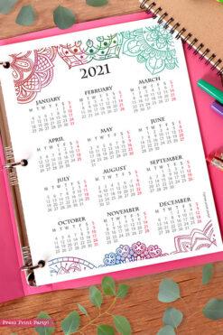 2021 Yearly Calendar Template Printable, Watercolor Mandala, Bullet Journal Printable Calendar Download, Calendar Insert, INSTANT DOWNLOAD
