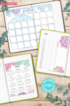 MONDAY Start 2021 Monthly Calendar Printable Template, Watercolor Mandala, Bullet Journal Calendar, Planner, Sunday, INSTANT DOWNLOAD
